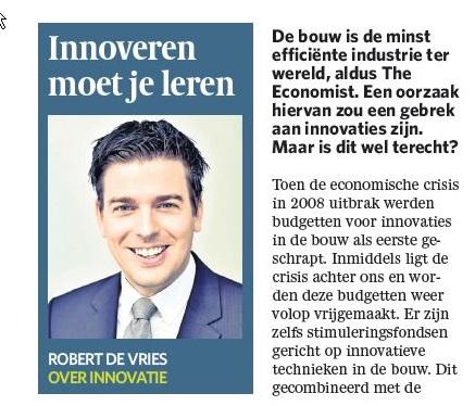 Column Robert de Vries - Innoveren moet je leren - okt 2017 kl