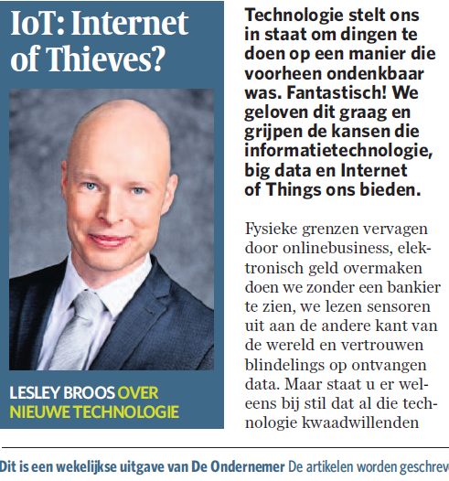 IoT - Internet of Thieves? - Column Lesley Broos in DeOndernemer
