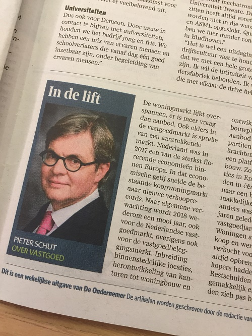 Column: 'In de lift' - Pieter Schut over vastgoed in DeOndernemer